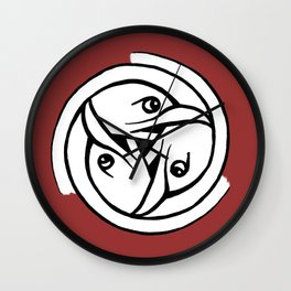 Celtic Art - Bird Head Triskele - on Red Wall Clock