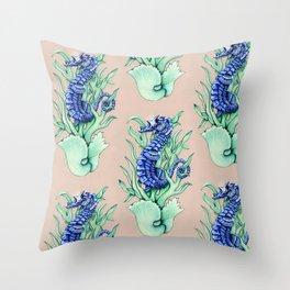 Blue Sea Horse Throw Pillow