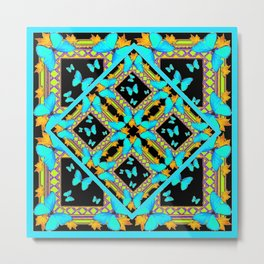 Decorative Western Style Turquoise Butterflies  Black Gold Patterns Metal Print