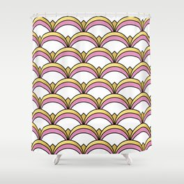 Pink and Gold Art Deco Pattern Shower Curtain