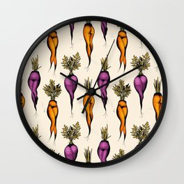 Sexy carrots botanical chart tattoo flash Wall Clock