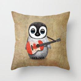 Baby Penguin Playing Canadian Flag Guitar Throw Pillow