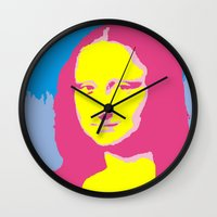 mona lisa Wall Clocks featuring Mona Lisa by Becky Rosen