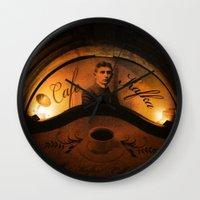 kafka Wall Clocks featuring Cafe Kafka by Bella Blue Photography