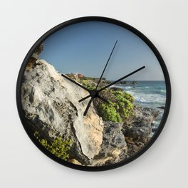 Isla Mujeres Limestone Boulder Sunrise Island Caribbean Sea Tropical Mexico Latin America Beach Wall Clock