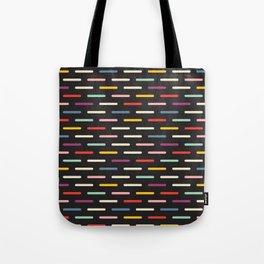 Modern Scandinavian Dash Multi Colour Color Black Tote Bag