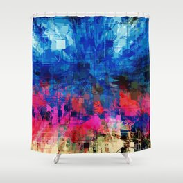 Bright Blues and Pinks Pattern Abstract Shower Curtain