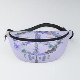 Purple Watercolor Peace Symbol Floral Dreamcatcher Fanny Pack