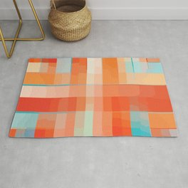 Orange Turquoise Summer Abstract Design Rug