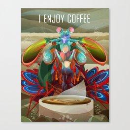 Rainbow Mantis Shrimp Enjoys Coffee Canvas Print