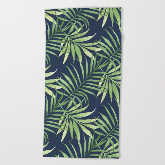 Tropical Branches on Dark Pattern 05 Beach Towel