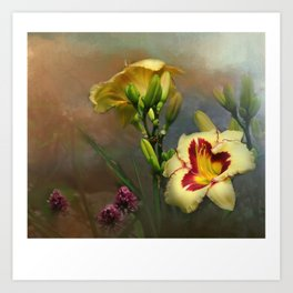 Lilies and Clover Art Print