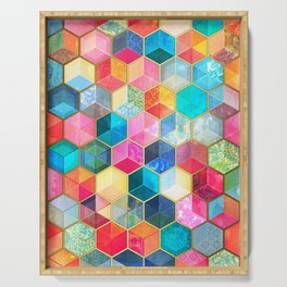 Crystal Bohemian Honeycomb Cubes - colorful hexagon pattern Serving Tray
