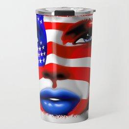 Usa Flag on Girl's Face Travel Mug
