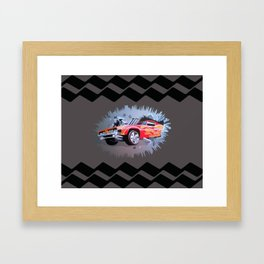 Hot Wheels Car Crashing Through a Wall Framed Art Print