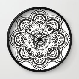 Mandala White & Black Wall Clock