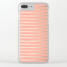 Abstract Stripes Gold Coral Pink Clear iPhone Case