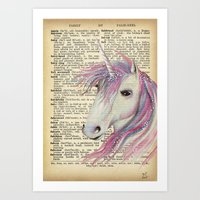 Dictionary Unicorn Moon Art Art Print