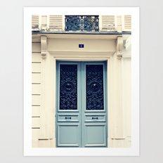 Paris Door, Pastel Blue Grey Art Print