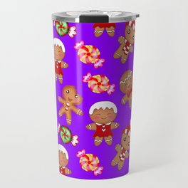 Cute Christmas seamless pattern. Happy festive gingerbread men and sweet xmas caramel candy. Travel Mug