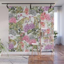 Leopards in flowery garden Wall Mural