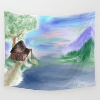 cabin Wall Tapestries featuring Peaceful Cabin by Christina Dugger