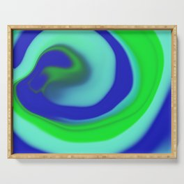 Green blue abstract pattern Serving Tray