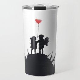 Banksy Two Children With Love Balloon At War Destruction Garbage, Streetart Street Art, Grafitti, Ar Travel Mug