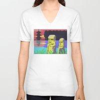 tiki V-neck T-shirts featuring Tiki by Vaporware