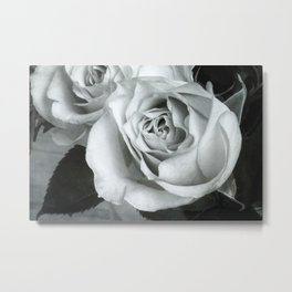 Textured Rose in B&W Metal Print