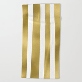 Gold unequal stripes on clear white - vertical pattern Beach Towel