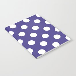 Dark slate blue - violet - White Polka Dots - Pois Pattern Notebook
