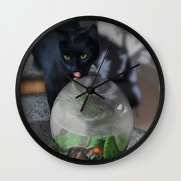 Black Kitty Cat with Fish in Fishbowl Wall Clock