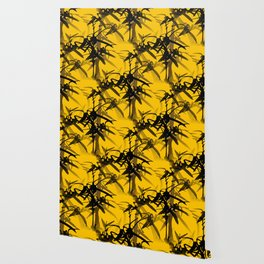 Bamboo Branches On A Yellow Background #decor #society6 #buyart #pivivikstrm Wallpaper