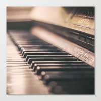 piano Canvas Prints featuring Piano by Juste Pixx Photography
