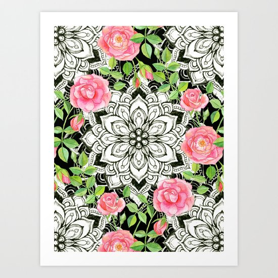 Peach Pink Roses and Mandalas on Black and White Lace Art Print