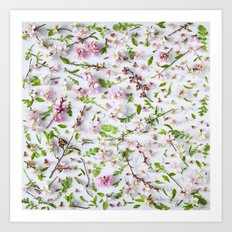 Leaves and flowers pattern Art Print
