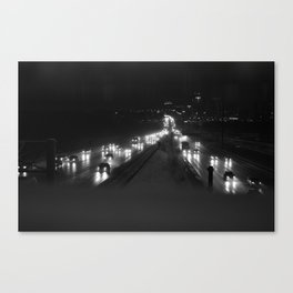 A snowy highway, the 401 at night Canvas Print