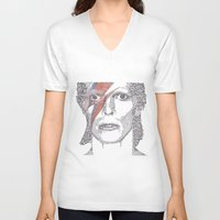 bowie V-neck T-shirts featuring Bowie by S. L. Fina