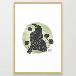 Crow and Skull Framed Art Print