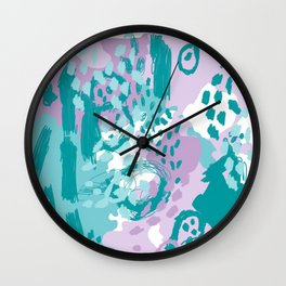 Riley - modern abstract trendy color palette nursery art decor lilac turquoise happy painting Wall Clock