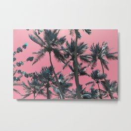 Pink and Palm Trees Metal Print