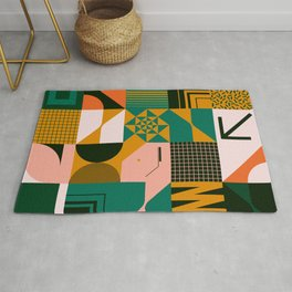 Mid century geometric abstract pattern with simple shapes and beautiful color palette Rug