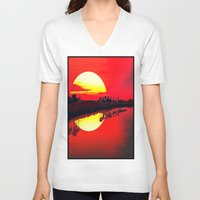 duvet cover V-neck T-shirts featuring Sunset duvet cover by customgift