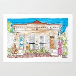 New Orleans Architecture Scene- Full Color  Art Print