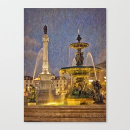 Rossio fountain at night Canvas Print