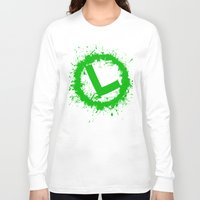 luigi Long Sleeve T-shirts featuring Luigi Splat by Donkey Inferno