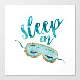 sleep in, teal, blue, eye mask, bedroom, breakfast, fashion Canvas Print