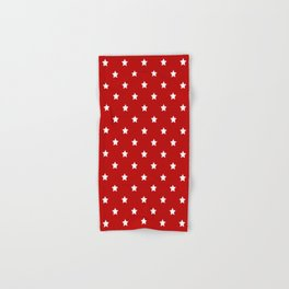 Red Background With White Stars Pattern Hand & Bath Towel