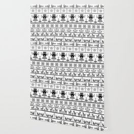 folk embroidery, black on white background. Collection of flowers, birds, peacocks, horse Wallpaper